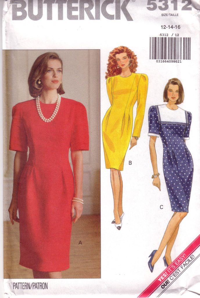 Vintage Easy Butterick 5312, Misses Dress, Size 12, 14, 16 - Couture Service  - 1