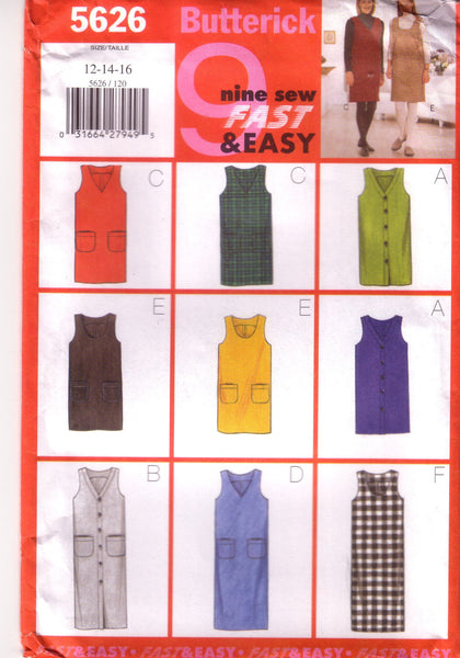 Butterick 5626, Misses Jumper, Size 12, 14, 16 - Couture Service  - 1