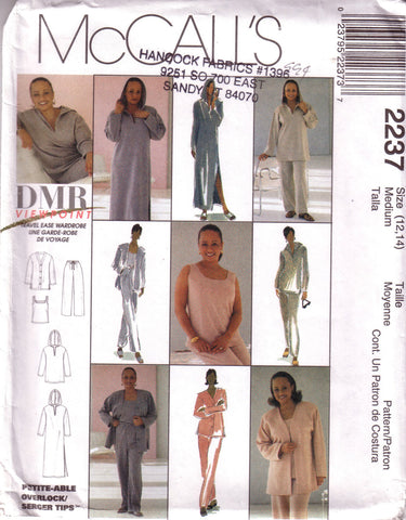 McCalls 2237, Misses Hooded Lounger, Cardigan, Top, Pant, Size 12, 14 - Couture Service  - 1