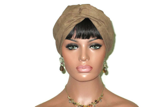 Handmade Brown Micro-Suede Twist Turban, Taupe - Couture Service  - 1
