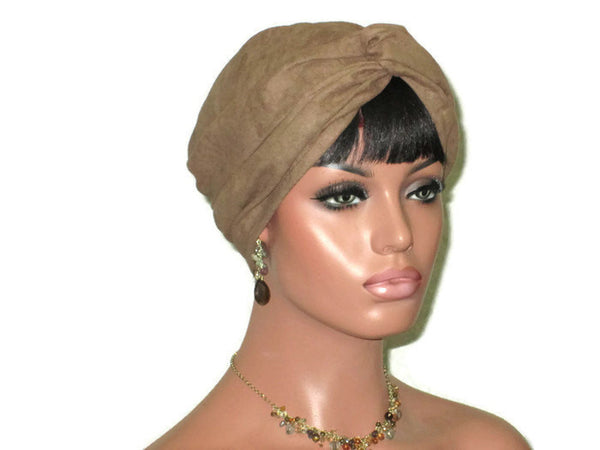 Handmade Brown Micro-Suede Twist Turban, Taupe - Couture Service  - 2