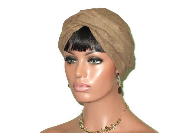 Handmade Brown Micro-Suede Twist Turban, Taupe - Couture Service  - 4