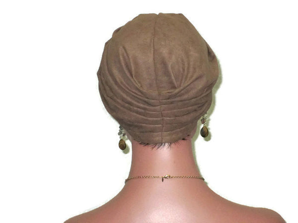 Handmade Brown Micro-Suede Twist Turban, Taupe - Couture Service  - 3