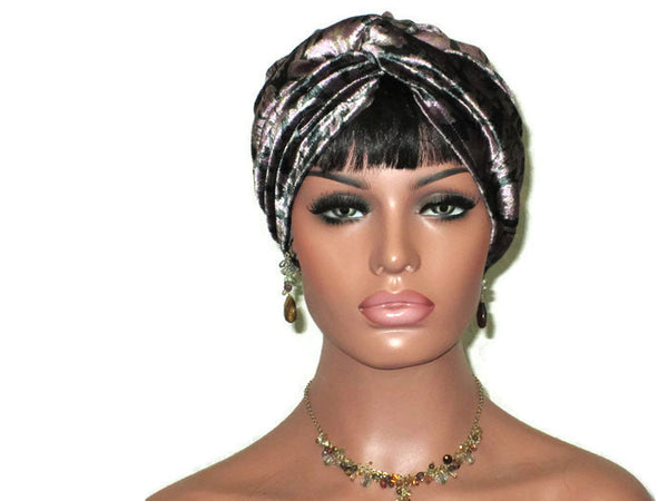 Handmade Purple Velvet Twist Turban, Floral Shimmer - Couture Service  - 3