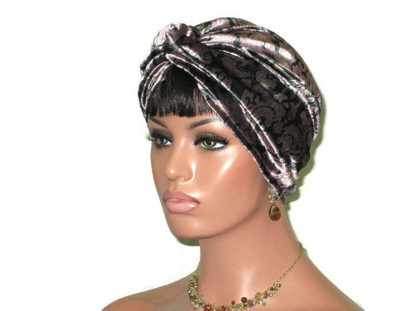 Handmade Purple Velvet Twist Turban, Floral Shimmer - Couture Service  - 2