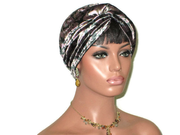 Handmade Purple Velvet Twist Turban, Floral Shimmer - Couture Service  - 1