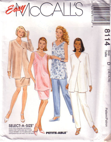 Vintage Easy McCalls 8114, Misses Jacket, Tunic, Pants, Skirt, Size 12, 14, 16 - Couture Service  - 1