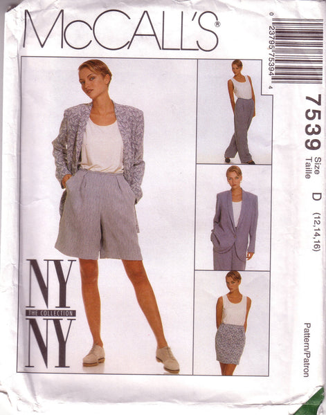 McCall's 7539, Vintage NY NY Collection, Misses Lined Jacket, Skirt, Pants, Shorts, Tank, Size 12, 14, 16 - Couture Service  - 1