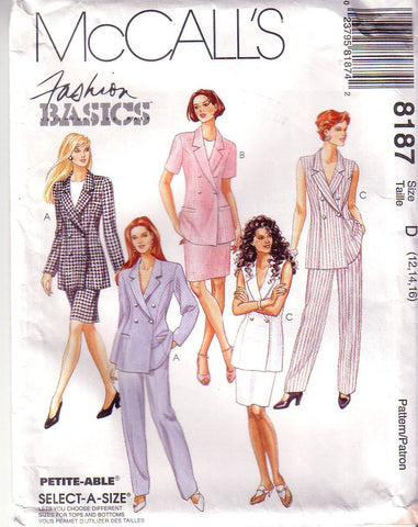 Vintage McCalls 8187, Misses Lined Jacket, Pants, Skirt, Size 12, 14, 16 - Couture Service  - 1
