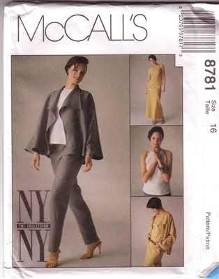 McCall's 8781, NY NY Collection, Misses Jacket, Bias Skirt, Pants, Bias Top, Size 16 - Couture Service  - 1