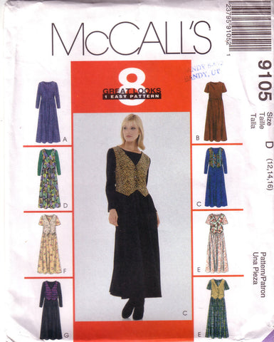 McCalls 9105, Misses Pullover Dress, Size 12, 14, 16 - Couture Service  - 1