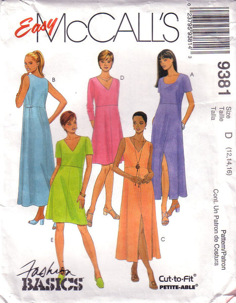 Easy McCall's 9381, Misses Pullover Dress, Size 12, 14, 16 - Couture Service  - 1