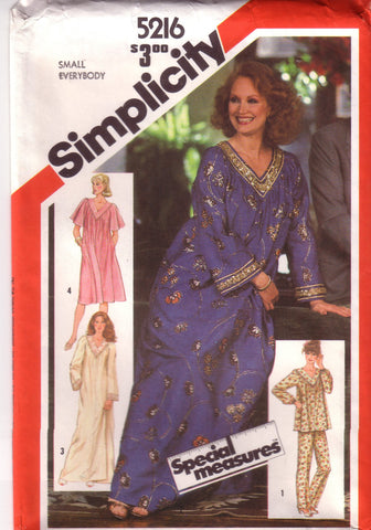 Vintage Simplicity 5216, Misses Caftan, Dress, Nightgown, Pajamas, Size 6, 8, 10 - Couture Service  - 1