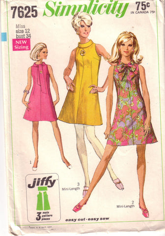 Vintage Easy to Sew Simplicity 7625, , Misses Mini Dress, Size 12 - Couture Service  - 1