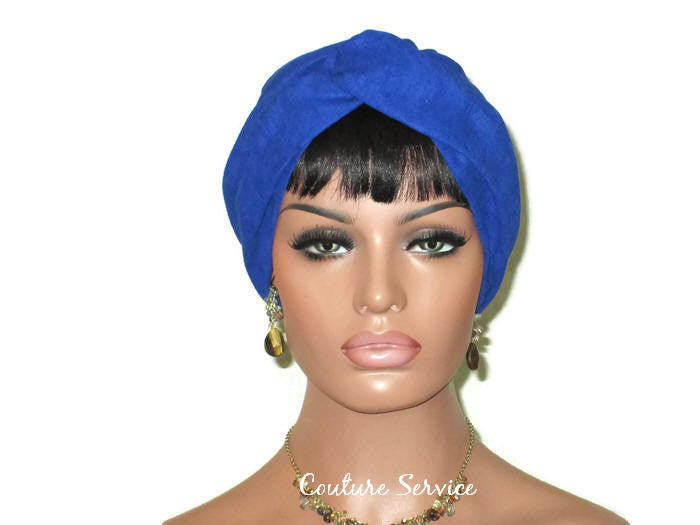 Handmade Blue Micro-Suede Twist Turban, Royal - Couture Service  - 1