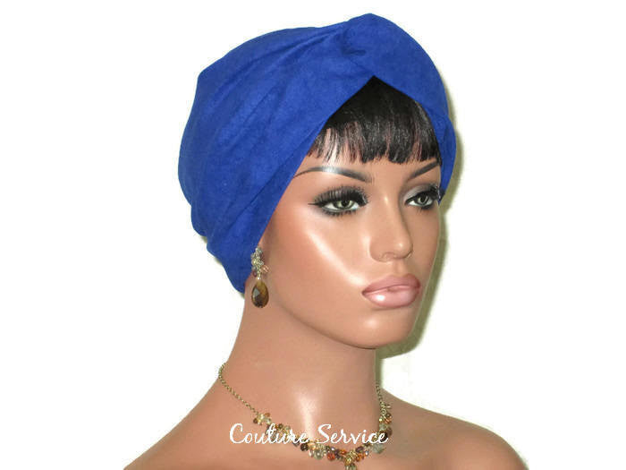 Handmade Blue Micro-Suede Twist Turban, Royal - Couture Service  - 2