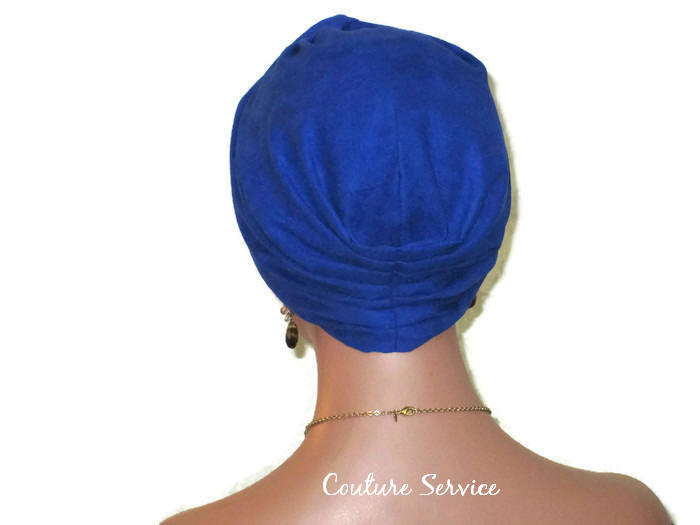 Handmade Blue Micro-Suede Twist Turban, Royal - Couture Service  - 3