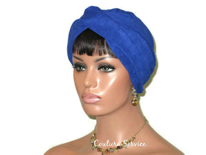 Handmade Blue Micro-Suede Twist Turban, Royal - Couture Service  - 4