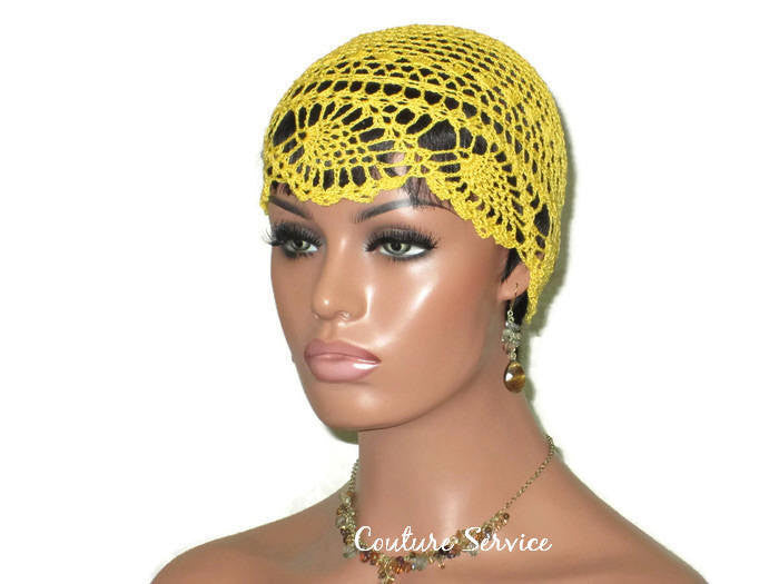 Handmade Yellow Pineapple Lace Cloche, Golden - Couture Service  - 1