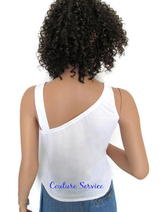 Handmade, White, One Strap, Rhinestone, Summer Tank Top - Couture Service  - 4