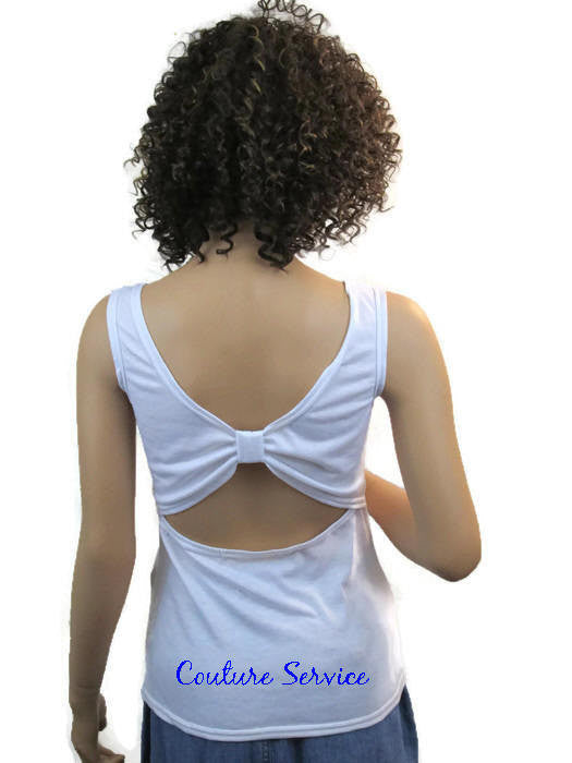 Handmade White, Open Back, Rhinestone, Summer Tank Top - Couture Service  - 2
