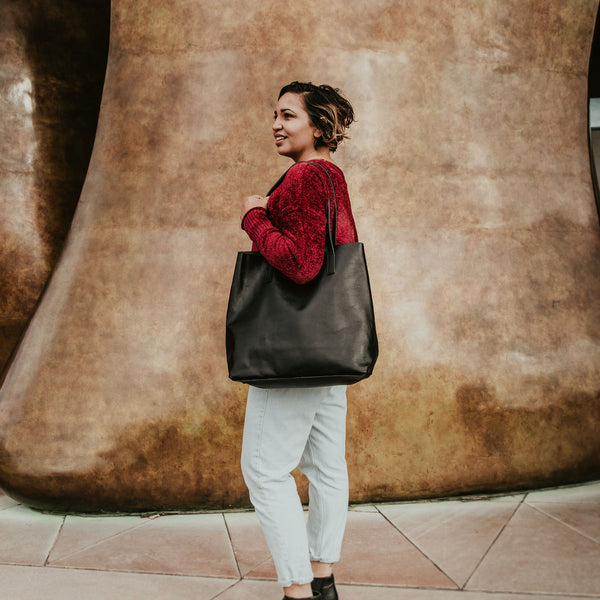 Everyday Leather Tote - Black