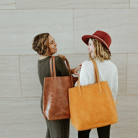 Everyday Leather Tote - Amaretto