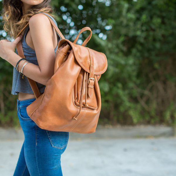 Leather Backpack - Caramel Brown