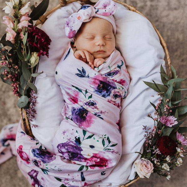 Baby Jersey Wrap & Topknot set - Floral Kiss