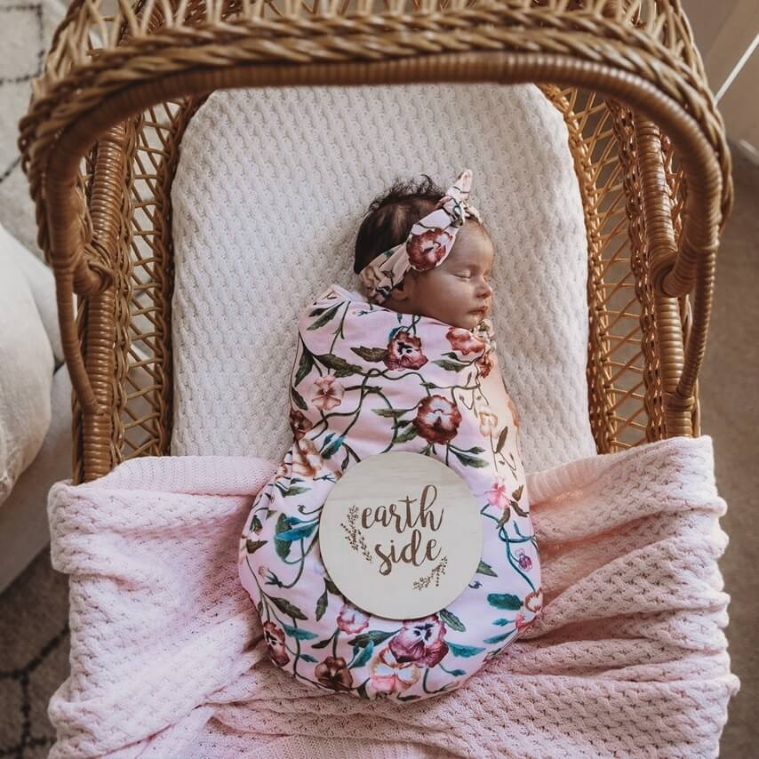 Baby Jersey Wrap & Top Knot Set - Pansy Heart