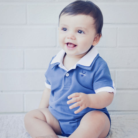 Hamptons Polo Romper - Blue