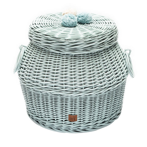 Mint Wicker Storage Basket