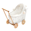 Wicker Dolls pram - White