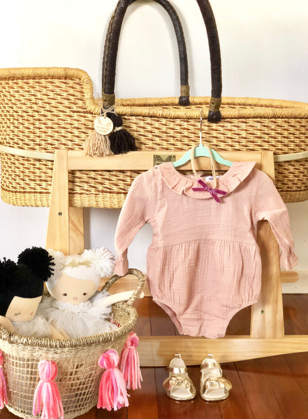 Thalia Long Sleeve Romper - Dusty Pink