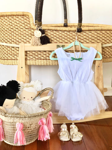 Organic Cotton Tutu Romper - White