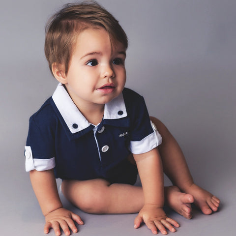 Hamptons Polo Romper - Navy