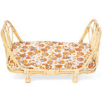 Poppie Toys Rattan Dolls Day Bed - Flowers
