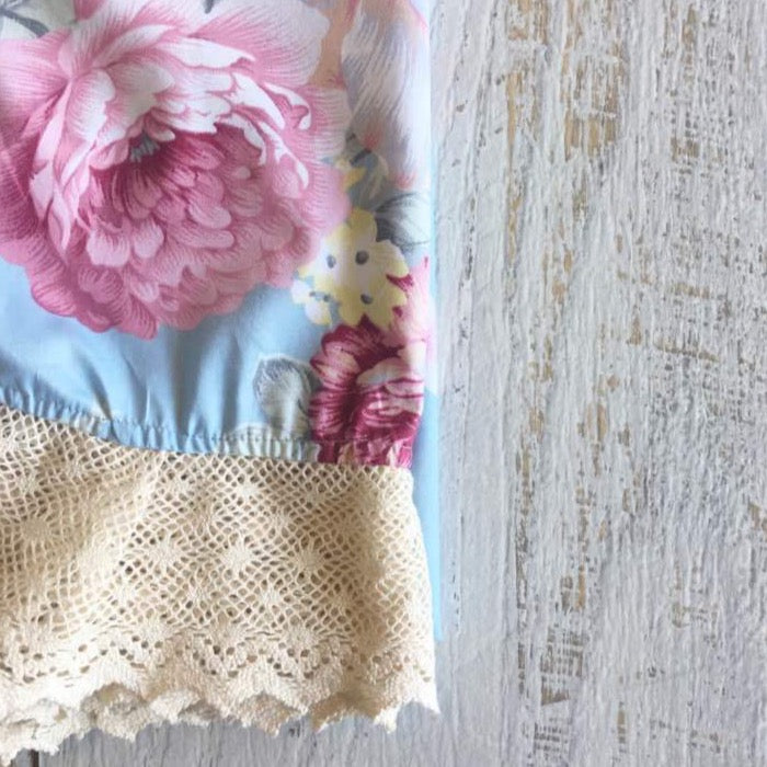 Couture Lace Swaddle Wrap - Blowsy Roses Blue