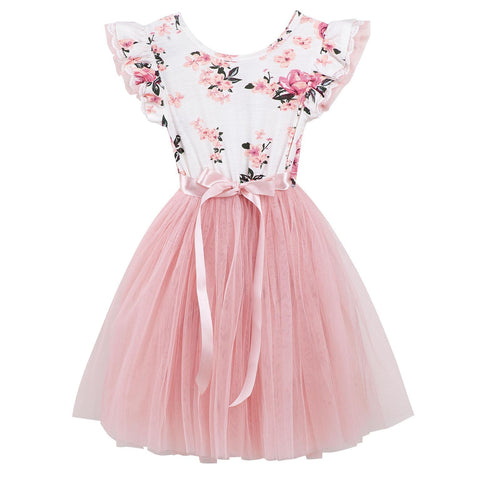 Forever Florals Tutu Dress - White/Pink