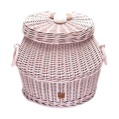 Pink Wicker Storage Basket