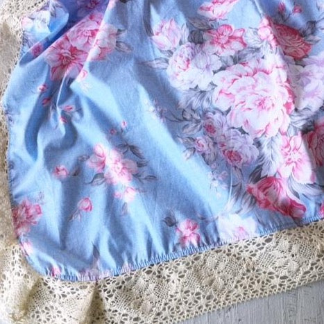 Couture Lace Swaddle Wrap in Petals (blue)