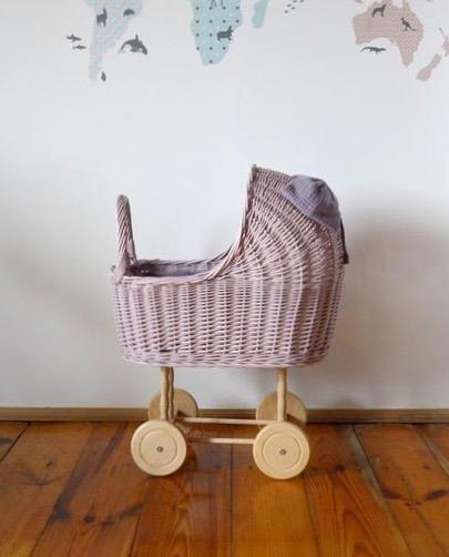 Wicker Dolls Pram - Pink