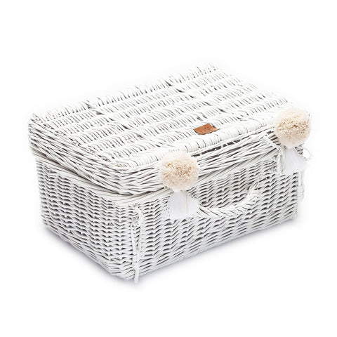 Wicker Storage Suitcase - White