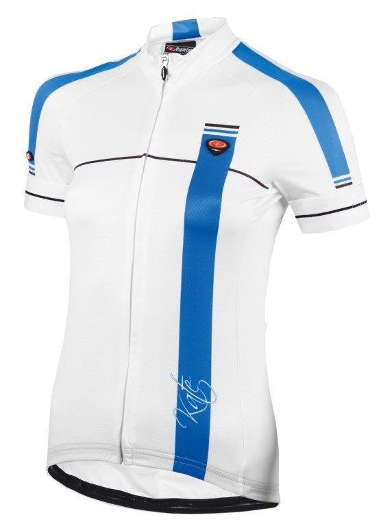 Womens Short Sleeve Cycling Jersey Kate White/Blue