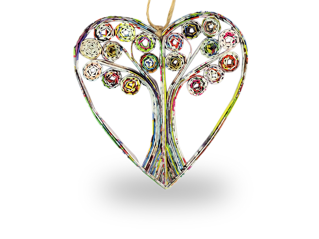 Recycle paper Tree of Life  heart ornament