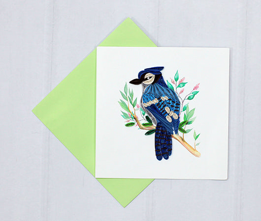Blue Jay Quilled Greeting Card
