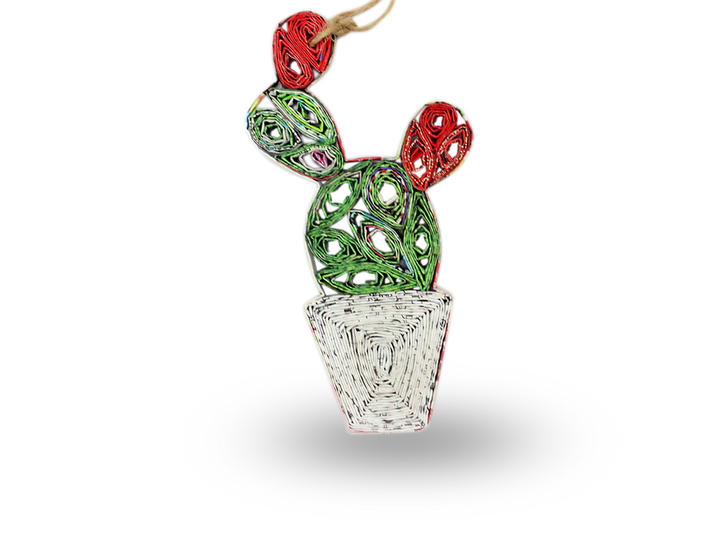 Recycled Paper Cactus Ornament (green white)