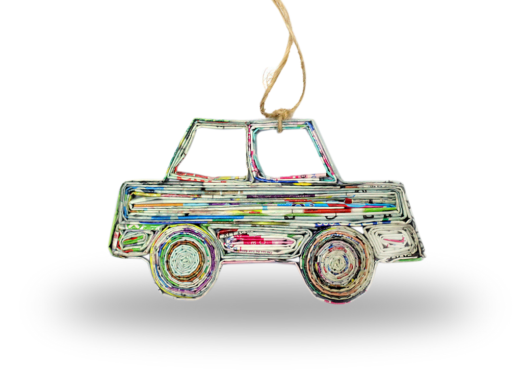 Handmade Recycled CAR Ornament