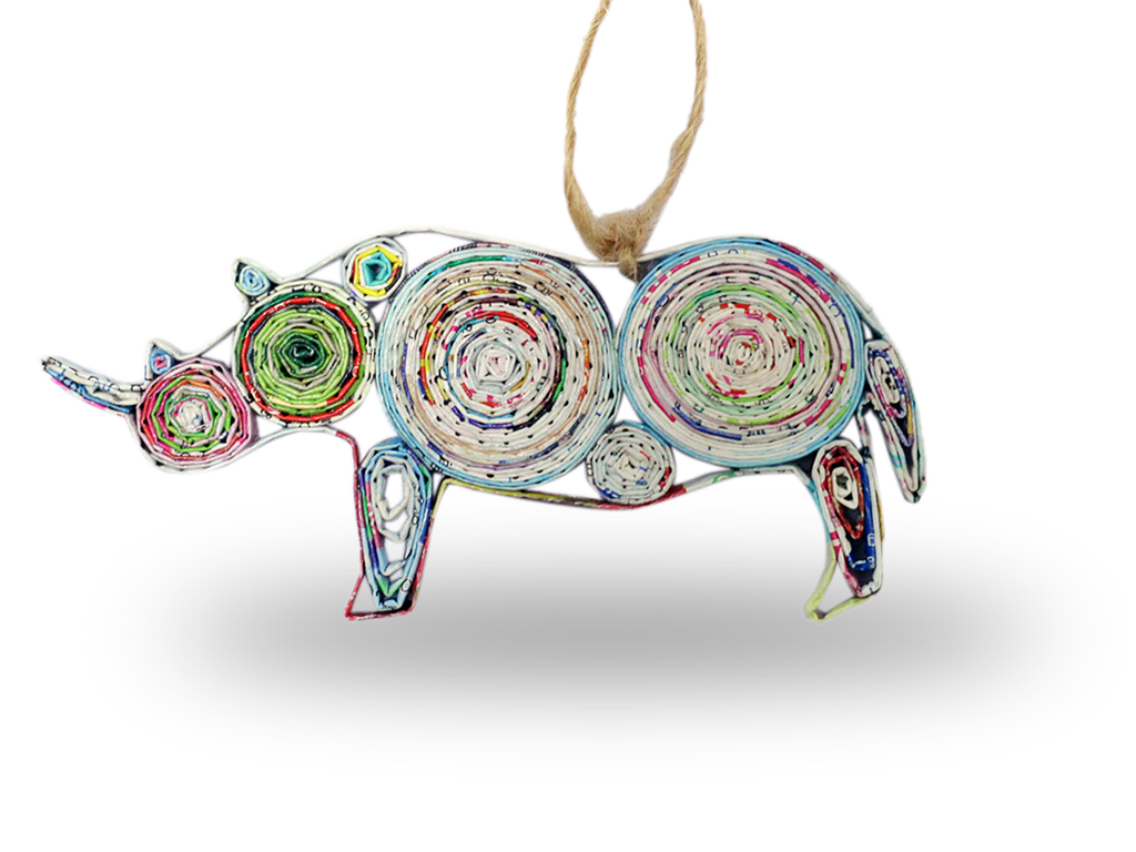 Recycled Paper Rhino Ornament