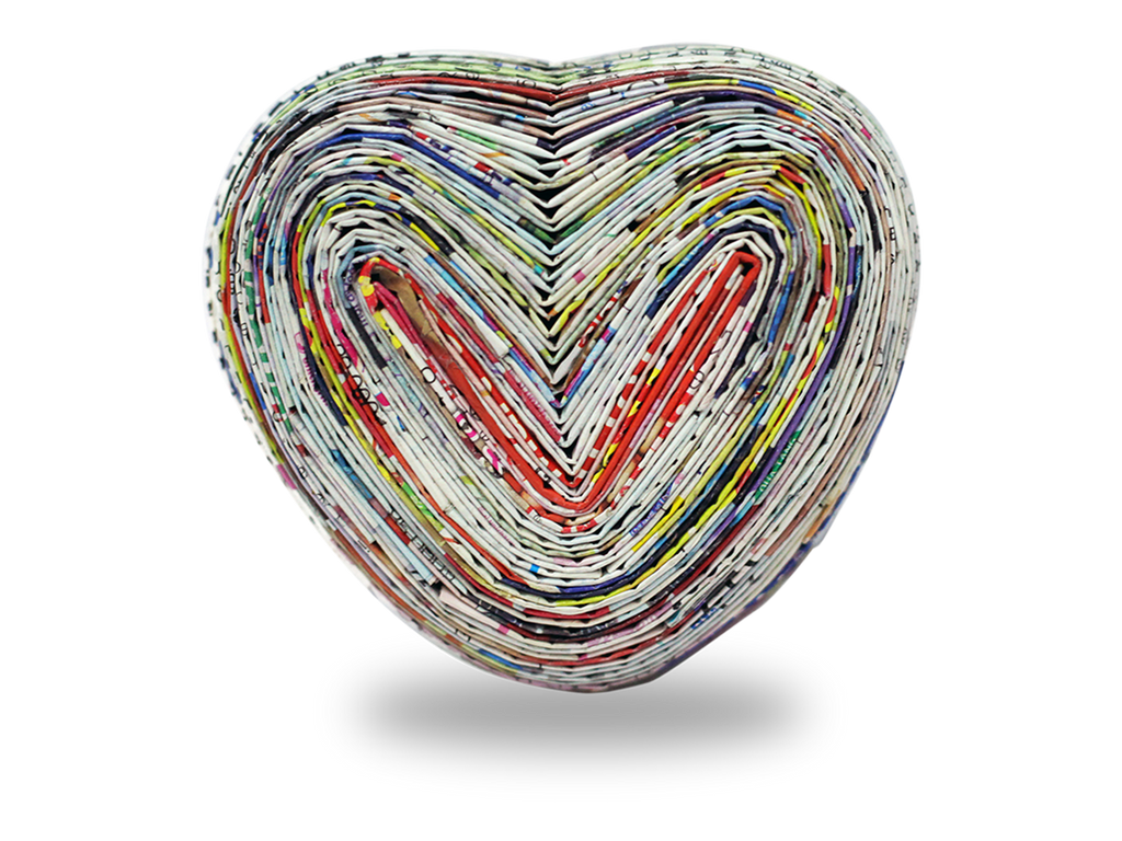Recycle paper box - heart shape with inflation lid